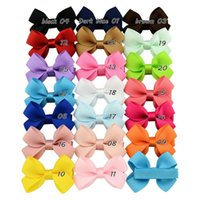 Wholesale Small Baby Headband - 20 Color Baby Girl Mini Ribbon Hair Bows Hairbands Cute Girls Candy Color Princess Hair Clips Small Hair Accessory 100pcs lot