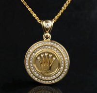Wholesale 14k Crown Pendant - Hip Hop 18K Silver Gold Plated King Crown Pendant Lced Out Round Bling Crystal Pendant Necklace Long Cuban Chain Set Men Jewelry