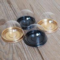 plastik kubbeler toptan satış-7.2 cm Parti 100 adet = 50 setleri Mini Boyutu Plastik Cupcake Kek Dome Favor Kutuları Konteyner Kek Kutusu Düğün Kutuları Malzemeleri Yanadır