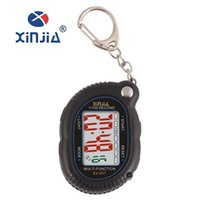 Wholesale-XINJIA Características Classic Key Ring Wall Clock Compact Conveniente Carry Não Waterproof Light Speaking Electronic Clock 837