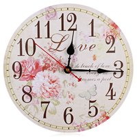 Wholesale- 2016 New Hot Decorative Silent Round Vintage Horloge murale en bois Peony Design Home Fashion