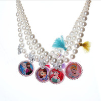 Wholesale Diamond Kitty Necklace - 2017 new FROZEN kitty pearl lengthen necklace 48 CM children's jewelry. Diamond cartoon princess performance pendant necklace L214