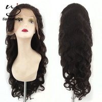 Wholesale Indian Human Hair China - 24inch #2 color body wave glueless human hair full lace wigs for black women nice lace front hair wig shandong china