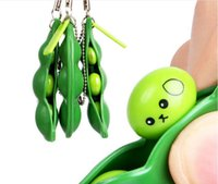 Wholesale Edamame Soybean - Funny Toys Happy Colorful Extrusion Pea Bean Soybean Edamame Stress Relieve Toys Keychain Keyring Car Pendant For Phone DHL Free