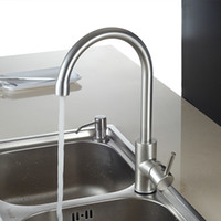 Wholesale Brushed Nickel Pipe - Hot and Cold Water Classic kitchen faucet Space Aluminum brushed process swivel Basin faucet 360 degree rotation With 2 Pipes Tap