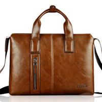 Wholesale Zefer Laptop Bags - Wholesale-ZEFER 2016 new men's leather male briefcase portfolio,brand desinger laptop business tote handbag shoulder bag free shipping