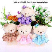 Wholesale Small Flower Car - 2017 new 12CM cotton kid Christmas toys plush doll mini small teddy bear flower bouquets bear for wedding, car Interior Decorations