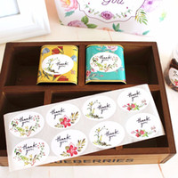 Wholesale Bakery Sealing - Flower decoration thank you sticker bakery package decorative sealing paster gift bag box stickers