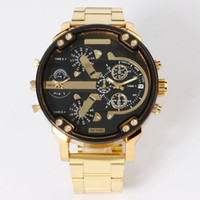 Wholesale Case Without Logo - Fashion Brand 7333 Men's Big Case Gold stainless steel band Quartz wrist Watch full logo