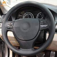 Wholesale Bmw Steering Wheel Cover - Mewant Black Artificial Leather Car Steering Wheel Cover for BMW F10 523Li 525Li 2009 730Li 740Li 750Li