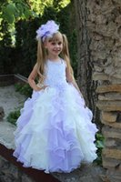 Wholesale first communion dresses for sale - Group buy Gradient color ivory and Lavender First Communion Dresses organza long sleeves Ball Gown princess Flower Girl Dresses birthday Pageant gown