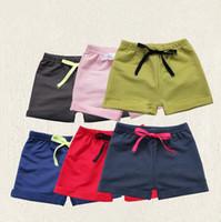 Wholesale Soft Cotton Baby Boy Pants - Wholesale Summer Kids Shorts Cotton Soft Children Harem Shorts Plain Color Pants Boy Girl Baby Clothing