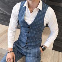 Wholesale chaleco slim fit - Wholesale- Quality Mens Dress Vest British Style Stripe Slim Fit Chaleco Hombre Men Vest Single Breasted Casual Gilet Waistcoat Men 5XL-M