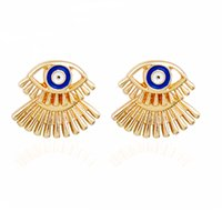 Wholesale Punk Stud Earings - Alloy earrings Punk Earrings Minimalist Gold Color Eye Stud Earrings Women Simple Jewelry Front Back Earings Girls Ear Jacket