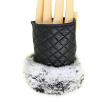 Wholesale Genuine Rabbit Fur Gloves - Wholesale- Fashion Women Fingerless Gloves Genuine Leather With Cute Rabbit Fur Mitten Half Finger Glove Plaid Christmas Womens Accessories