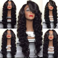 Wholesale Heat Waves - Fashion Body Wave Synthetic Wigs With Baby Hair Heat Resistant Synthetic Lace Front Wig For Black Women Half Hand Glueless Wigs