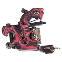 Wholesale Tattoo Starter Guns - machine gun cap guns 2016 Tattoo Machine Gun for Liner Shader 10 Wraps Coils Basic Starter Set Red Tattoo Tools Rotary Permanent