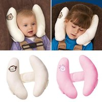 Wholesale white crochet pillow - New Adjustable Baby Strollers Headrest Car Seat Head Pillow Neck Cushion Sleeping Pillows (color :Pink White)