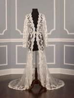 Wholesale Real Silver Coat - 2017 Real photos Wedding Jackets for bridal Lace applique Sexy Illusion Ivory Applique Tulle Long Sleeves Luxury Bridal Jacket