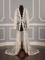 Wholesale Photo Coating - 2017 Real photos Wedding Jackets for bridal Lace applique Sexy Illusion Ivory Applique Tulle Long Sleeves Luxury Bridal Jacket