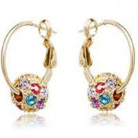 Wholesale hoop earrings online - Rhinestone Hoop Earrings for Women DHL Cherry Bblossom Crystal Ball Earrings for Lady Xmas Gift Fashion Jewelry