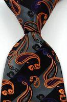 gravatas alaranjadas de paisley para homens venda por atacado-Brand New Clássico Paisley Stripe Preto Cinza Laranja JACQUARD TECIDO Gravata Dos Homens de Seda Gravata csw34