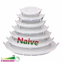 Wholesale Thinnest Ceiling Light - Ultra Thin smd 2835 3w 4w 6w 9w 12w 15w 18w 24w LED Recessed Round panel lights LED Ceiling Downlight AC85-265V LED Panel Light