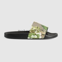 Wholesale Womens Flower Flat Sandals - new arrival womens and mens fashion causal sandals tian blooms print flower slide sandals free shipping