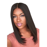 frange de perruque moyenne et noire achat en gros de-Perruque de cheveux synthétiques moyen et moyen avec frange longue et droite