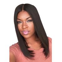 moda peruk patlamaları toptan satış-Ucuz Orta Uzun Peruk Düz Siyah Kahverengi Sentetik Saç Peruk Moda Orta Yan Bang Sentetik Peruk