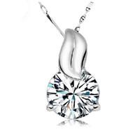 Wholesale Dress For Love - fashion Pendant Necklace For Women Top Grade Diamond Cubic Zircon 925 sterling silver Love Pendant necklace For Wedding Dress Sets Party