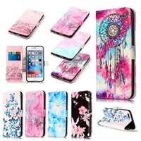 Wholesale Hid Shell - For Sumsang Galaxy S8 Phone shell marble painted phone shell relief Iphone 7 High-Quality Hidden button Clamshell leather sheath Case