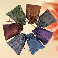 Cheap Chinese Word Silk Brocade Jóias Pouch Pequena Drawstring Cloth Gift Packaging Bag Sachet Trinket Coin Pocket Wholesale 50pcs / lot
