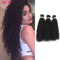 ALICE pacotes de cabelo humano indiano Kinky Curly Weave 3 Bundles 100% de cabelo humano em massa Cor natural 100% Unprocessed Extensions 8-28inch