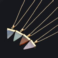Wholesale Gold Plated Jewellry - Natural Stone Crystal Quartz Healing Point Chakra Gemstone Gold Plated Triangle Pendant Necklaces Stone Jewelry Cristal Jewellry