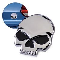 Wholesale Logo Auto 3d - Car styling 3D Silver Skull Skeleton Metal Decal Devil Head Emblem Logo Badge Auto Motorcycle Sticker
