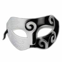 Wholesale Black Venetian Masks Mens - Black&White Roman Greek Mens Venetian Halloween Costume Party Masquerade Mask