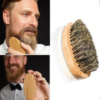 Wholesale Massage Bamboo - Beard Brush For Men Bamboo brush Boar Bristles Face Massage men shaving brushes Comb Beards and Mustache ZA2023