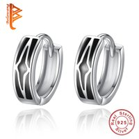 Wholesale Unique Design 925 Earring - BELAWANG Unique Design Black Enamel Star Circle Hoop Earrings Fashion 925 Sterling Silver Round Earring for Women Men Jewelry Gift Wholesale