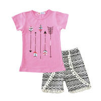 Wholesale Leopard Clothes For Children - Girls clothes Summer children short sleeve tassels outfits kids arrow pink top + short 2 pcs for 1~5 Y