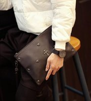Wholesale Men Bags Across Shoulder - brand new mens bags personality rivet han edition men holding BaoChao male rivets men wrist bag the one shoulder inclined across packages