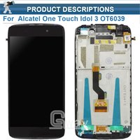 Wholesale alcatel digitizer - Wholesale- For Alcatel one touch idol 3 OT6039 6039 LCD Screen Display with Touch Screen Digitizer with Frame