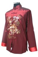 Wholesale Men S Formal Coats - Wholesale- New Arrival Burgundy Chinese Men Silk Saint Jacket Silk Satin Coat Hanmade Dragon Embroidery Tang Suit S M L XL XXL XXXL