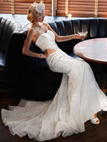 Wholesale Cheaper Lace Wedding Dresses - 2017 Lace Overlay Charmeuse Trumpet Wedding Dress with Train And Full Beading Detail SWG400 Cheaper Bridal Gowns