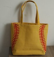 Wholesale Wholesale White Cotton Tote Bags - wholesale new yellow softball white baseball Jewelry Packaging Blanks Kids Cotton Canvas Sports Bags Baseball Softball Tote Bag