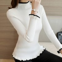 Wholesale Korean Turtle Neck Sweaters - Wholesale- 2016 new winter half Korean women's sweater slim turtle neck long sleeve Pullover flounce thick backing