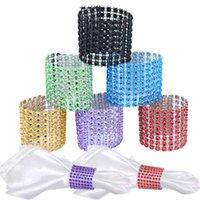 ingrosso maglie a rete-Wholesale-10pcs 8 Row Mesh Bow Covers Con chiusura Bling portatovagliolo Diamond Rhinestone Wedding Chair Sash Archi J2Y