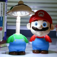 Wholesale Mario Face - Super Mario Cute Cartoon LED Rechargeable Table Light Night lights Bedside Lamp for Children Ac 220V kid novelty lighting gifts