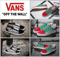blue checkerboard - 2017 Old Skool X Brand BILLY S Classic Black White Red Green Checkerboard CANVAS Casual Shoes Women Men Sport Running Sneakers