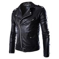siyah kahverengi katlar toptan satış-Erkekler Moda PU Deri Ceket Bahar Sonbahar Yeni İngiliz Tarzı Erkek Deri Ceket Motosiklet Ceket Erkek Ceket Siyah Kahverengi M-3XL
